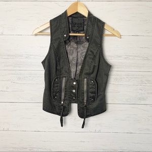 Guess Washed Black Denim Moto Vest Lined Small